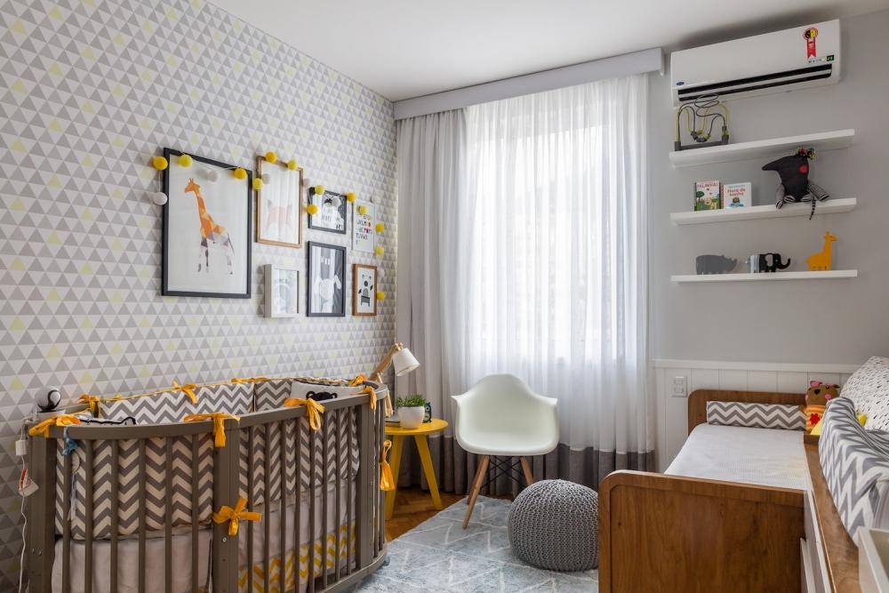 Well-known Quarto de bebê com 10m2 com as cores cinza e amarelo PP56